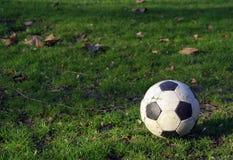De bal van de voetbal op gras 03 Royalty-vrije Stock Afbeeldingen