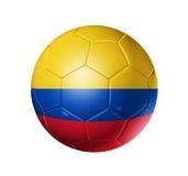 De bal van de voetbalvoetbal met de vlag van Colombia Stock Afbeeldingen