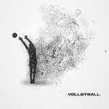 De bal van de volleyballspeler van een silhouet van deeltje royalty-vrije illustratie