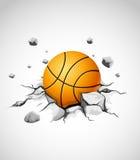 De bal van het basketbal in gebarsten steen Stock Afbeelding