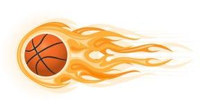 De bal van het basketbal in vlam Stock Fotografie