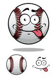 De bal van het beeldverhaalhonkbal met een brutale grijns Royalty-vrije Stock Afbeeldingen