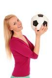 De bal van het de holdingsvoetbal van de vrouw Royalty-vrije Stock Afbeeldingen