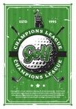 De bal van het golfspel en clubs retro affiche royalty-vrije illustratie
