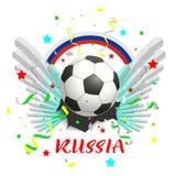 De bal van het de tekstvoetbal van Rusland van de regenboogbanner en witte vleugels Royalty-vrije Stock Foto's