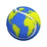 De bal van het tennis met wereldkaart royalty-vrije illustratie
