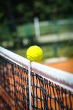 De bal van het tennis in netto royalty-vrije stock foto