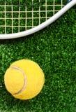 De bal van het tennis op gras Stock Afbeeldingen