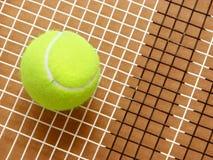 De bal van het tennis op racketkoorden stock foto's