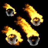 De bal van het voetbal in de brand Royalty-vrije Stock Afbeelding