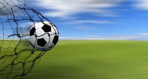 De bal van het voetbal in een net royalty-vrije illustratie
