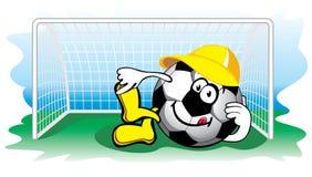 De bal van het voetbal in het doel. Vector. vector illustratie