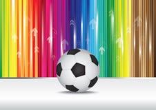 De bal van het voetbal met kleurenstreep stock illustratie