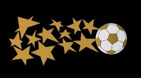 De bal van het voetbal met sterren Stock Fotografie
