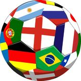 De bal van het voetbal met vlaggen royalty-vrije illustratie