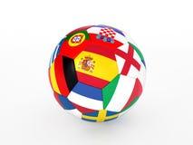 De bal van het voetbal met vlaggen van de Europese landen Stock Afbeeldingen