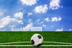 De bal van het voetbal op gras Royalty-vrije Stock Fotografie