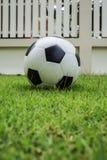 De bal van het voetbal op groen gras Royalty-vrije Stock Afbeeldingen