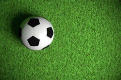 De bal van het voetbal op groen gras royalty-vrije stock foto's