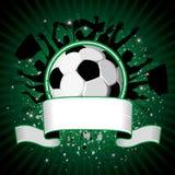 De bal van het voetbal op grungeachtergrond Stock Foto