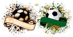 De bal van het voetbal op grungeachtergrond vector illustratie