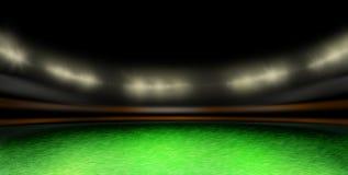 De bal van het voetbal op het stadiongazon Stock Fotografie