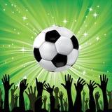 De bal van het voetbal voor voetbalsport met ventilatorhanden Royalty-vrije Stock Foto