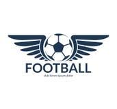 De bal van het voetbalvoetbal met vleugels Vectorembleem, symbool Royalty-vrije Stock Afbeelding