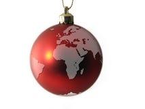 De Bal van Kerstmis - de Bol Europa van de Wereld en Afrika Stock Afbeeldingen