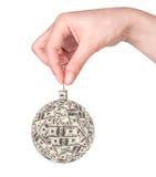 De bal van Kerstmis die van geld wordt gemaakt Stock Foto's