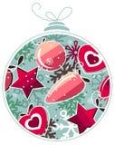 De bal van Kerstmis die van sneeuwvlokken wordt gemaakt Stock Foto