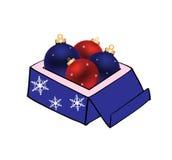 De bal van Kerstmis in doos Stock Foto