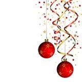 De bal van Kerstmis met krullend lint Stock Foto