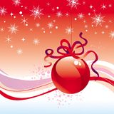 De bal van Kerstmis met lint Stock Afbeelding