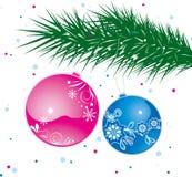De bal van Kerstmis op boom Royalty-vrije Stock Foto's