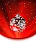 De bal van Kerstmis op dalend vlokkenmalplaatje. EPS 8 Stock Afbeeldingen