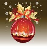 De Bal van Kerstmis in rode kleuren Stock Foto