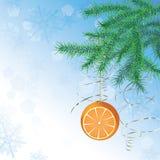 De bal van Kerstmis in vorm van sinaasappel Stock Foto