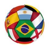 De Bal van wereldbeker 2014 Brazilië met de Vlaggen van het Land Royalty-vrije Stock Afbeelding