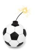 De balbom van het voetbal met het branden van wiek op wit Stock Foto's