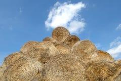 De balen van hooibergen in platteland Stock Afbeeldingen