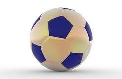 De balgoud en blauw van het voetbal Stock Fotografie