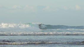 De Balinese professionele surfer berijdt een tropische oceaangolf stock video