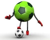 De balkarakter van het voetbal Stock Afbeeldingen