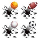 De ballen die van sporten door glas breken Royalty-vrije Stock Afbeeldingen