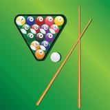 De ballen en de richtsnoeren van het biljart voor spelspel. Stock Afbeeldingen
