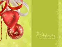 De ballen en de samenvatting van Kerstmis bokeh Royalty-vrije Stock Fotografie