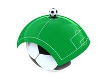 De ballen en het gebied van het voetbal Stock Foto