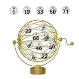De Ballen van Bingo in Gouden Kooi Royalty-vrije Stock Foto's