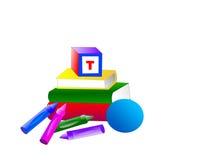 De Ballen van boeken blokkeren Kleurpotloden Royalty-vrije Stock Afbeeldingen